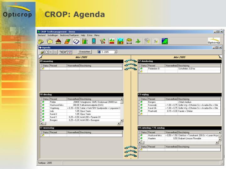 CROP: Agenda