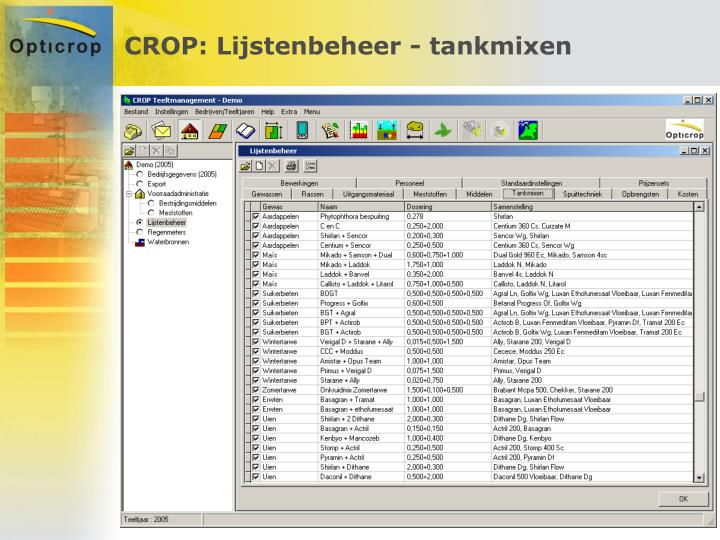 CROP: Lijstenbeheer - tankmixen