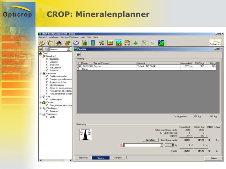 CROP: Mineralenplanner