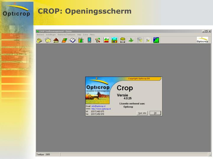 CROP: Openingsscherm