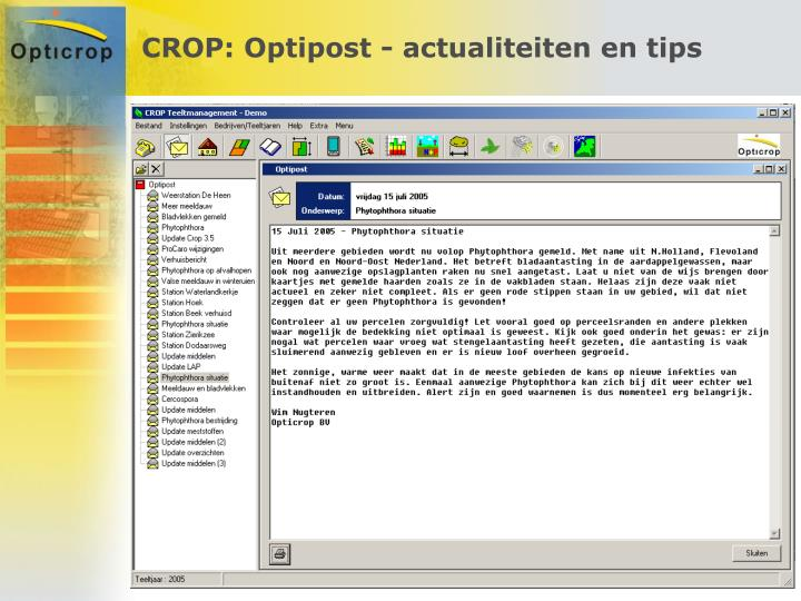 CROP: Optipost - actualiteiten en tips