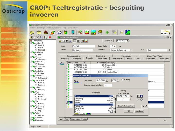 CROP: Teeltregistratie - bespuiting invoeren