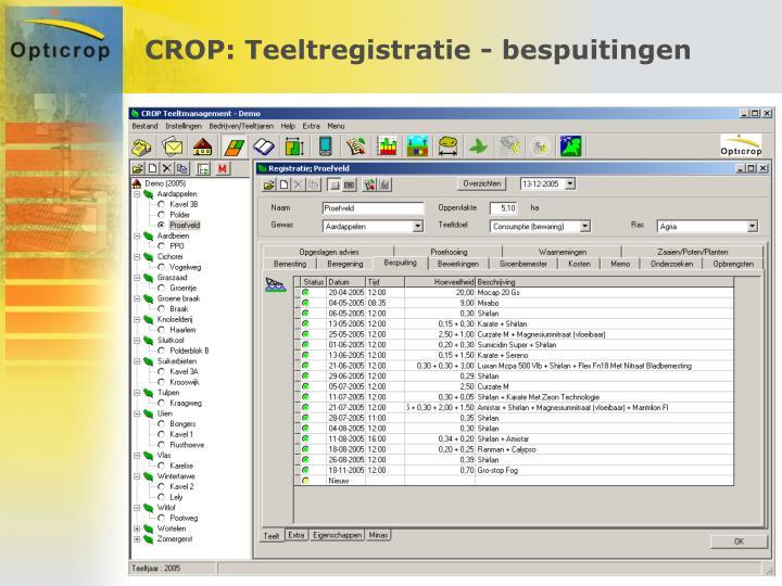 CROP: Teeltregistratie - bespuitingen