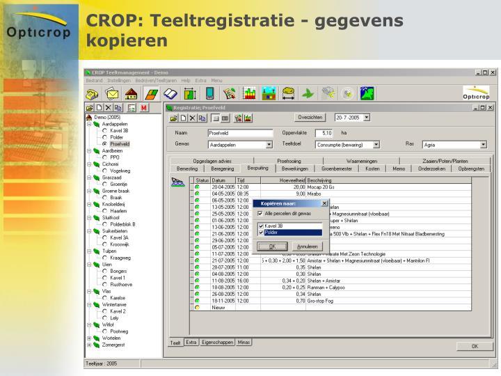 CROP: Teeltregistratie - gegevens kopieren