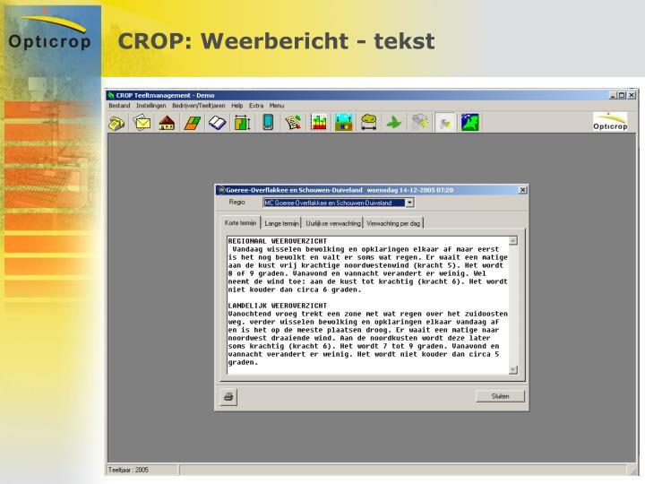 CROP: Weerbericht - tekst