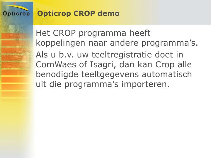 Opticrop CROP demo