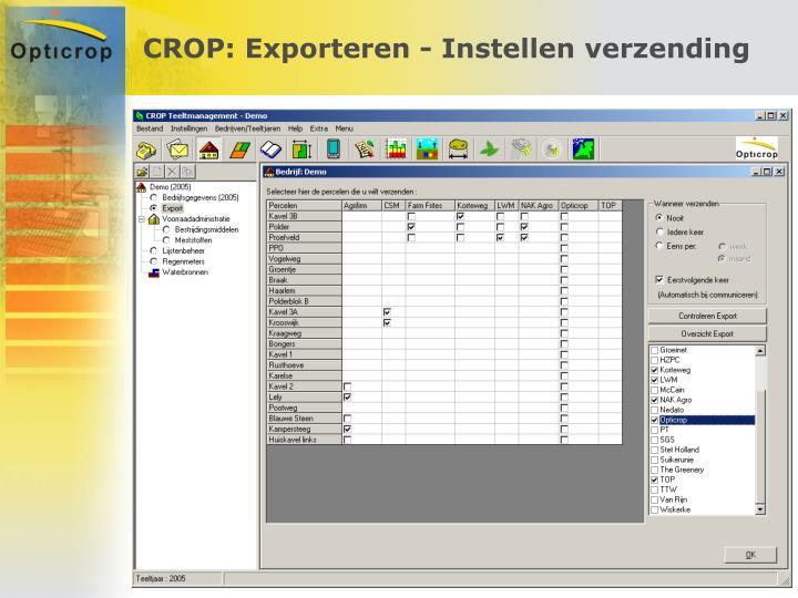 CROP: Exporteren - Instellen verzending
