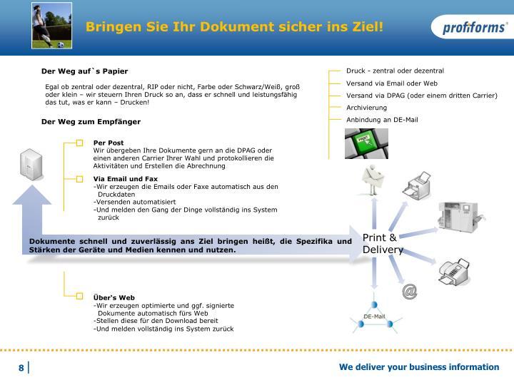 Bringen Sie Ihr Dokument sicher ins Ziel!
