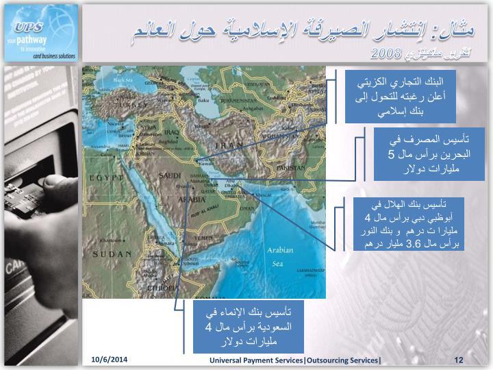 مثال: إنتشار الصيرفة الإسلامية حول العالم