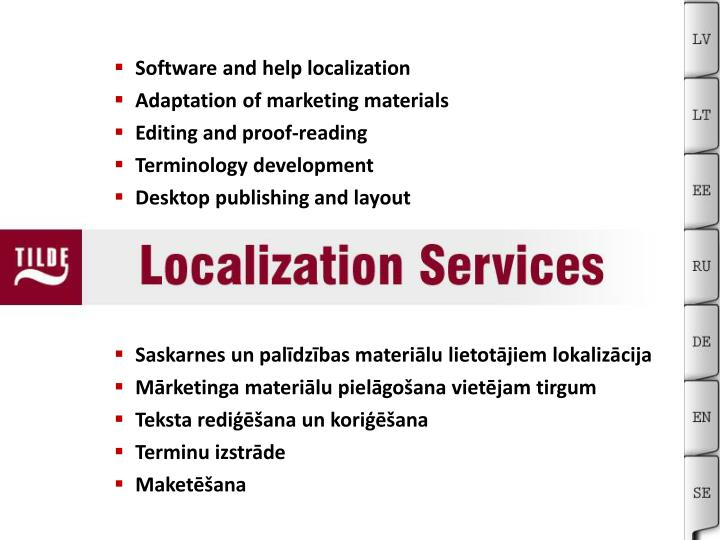 Software and help localization