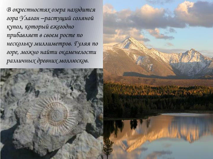 В окрестностях озера находится гора Улаган –растущий соляной купол, который ежегодно прибавляет в своем росте по нескольку миллиметров. Гуляя по горе, можно найти окаменелости различных древних моллюсков.
