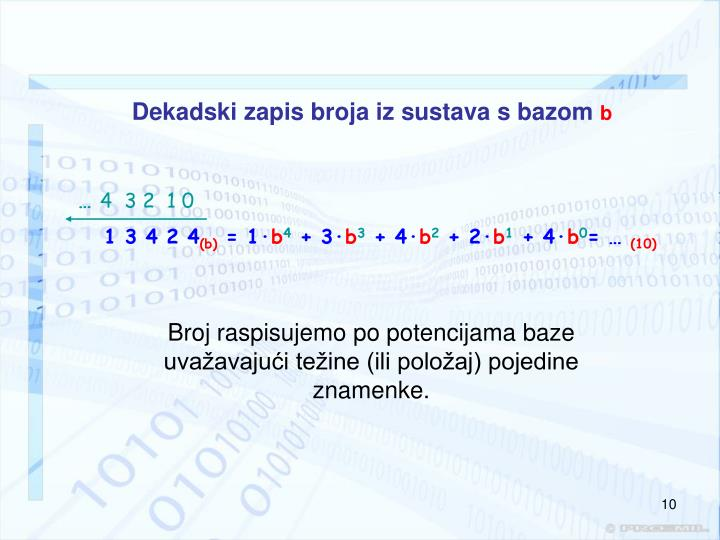 Dekadski zapis broja iz sustava s bazom