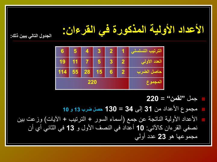 الأعداد الأولية المذكورة في القرءان:
