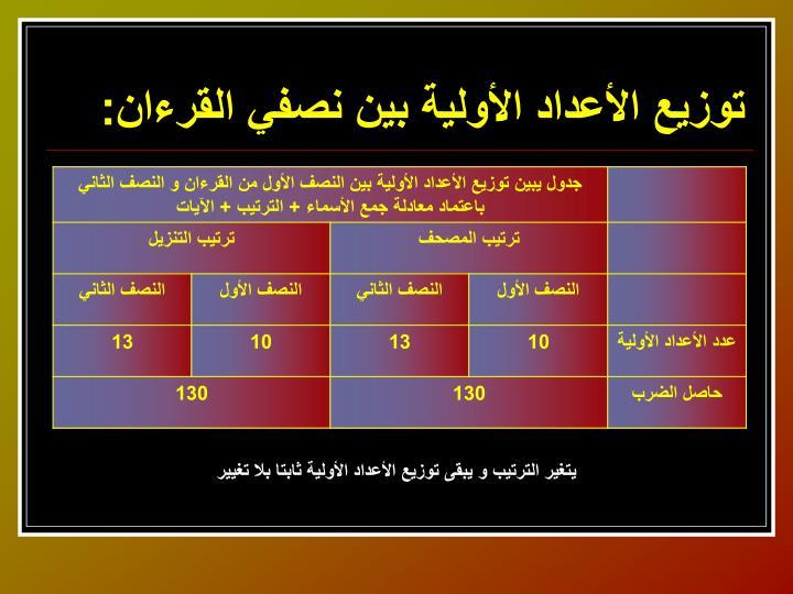 توزيع الأعداد الأولية بين نصفي القرءان: