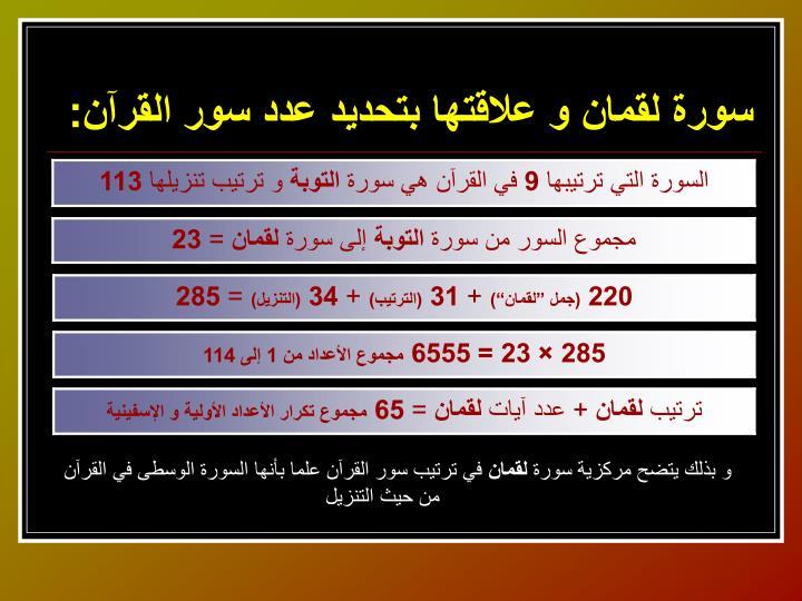 سورة لقمان و علاقتها بتحديد عدد سور القرآن: