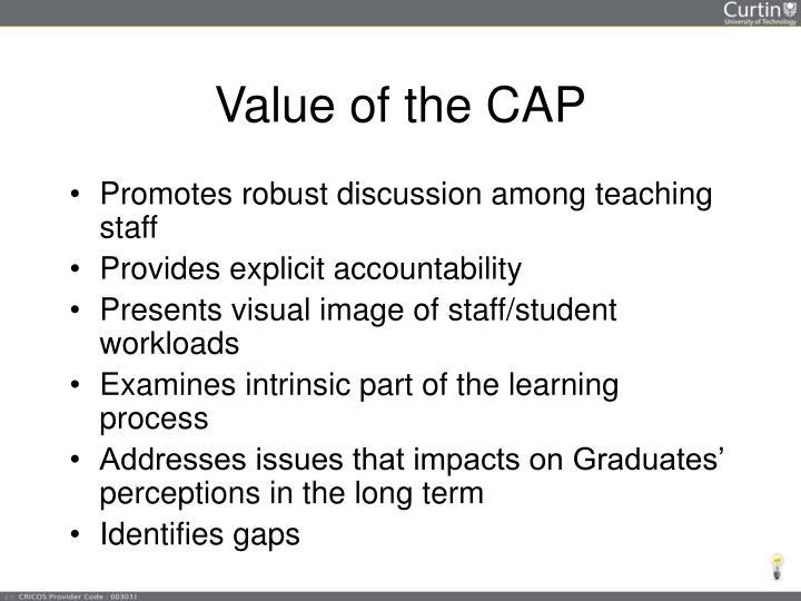 Value of the CAP