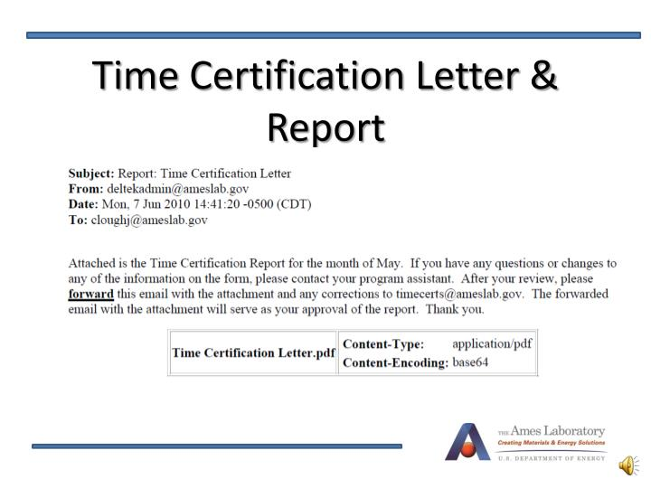 Time Certification Letter & Report