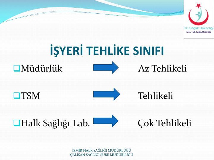 İŞYERİ TEHLİKE SINIFI