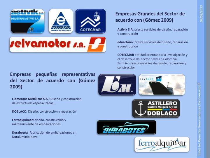 Empresas Grandes del Sector de acuerdo con (Gómez 2009)