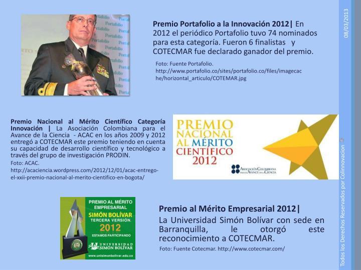 Premio Portafolio a la Innovación 2012|