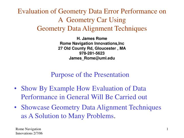 Evaluation of Geometry Data Error Performance on A  Geometry Car Using