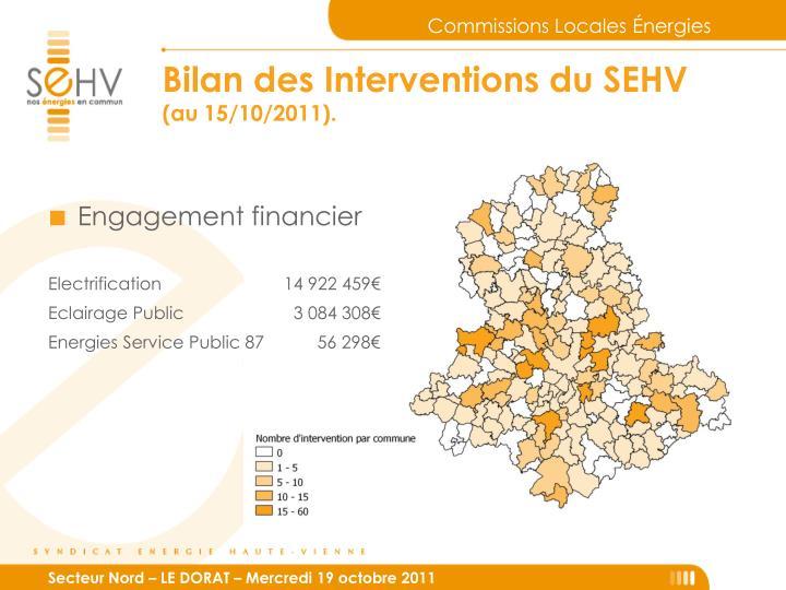 Bilan des Interventions du SEHV