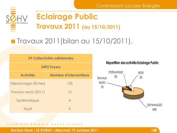 Travaux 2011(bilan au 15/10/2011).