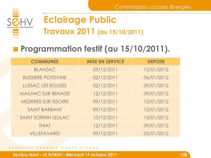 Programmation festif (au 15/10/2011).
