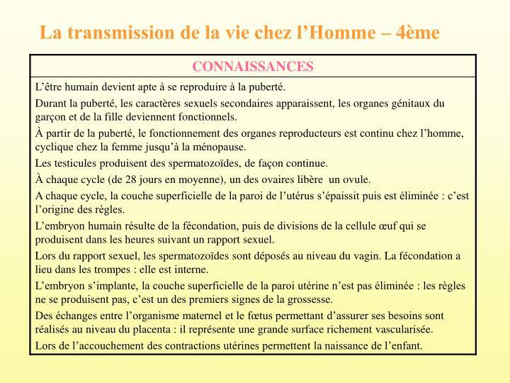 La transmission de la vie chez lHomme  4me