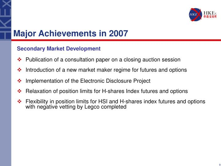 Major Achievements in 2007