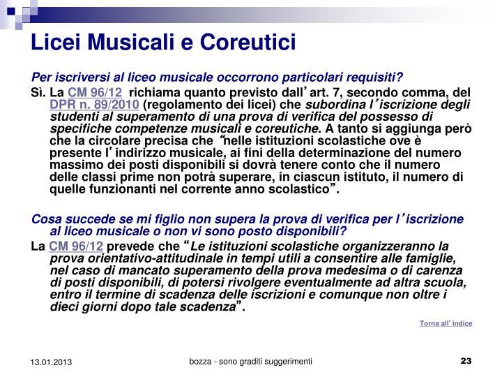 Licei Musicali e Coreutici