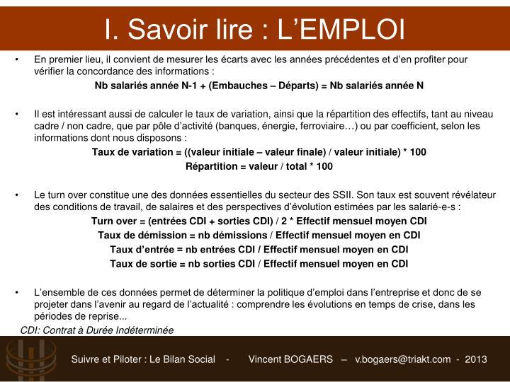 I. Savoir lire : L'EMPLOI