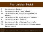 plan du bilan social