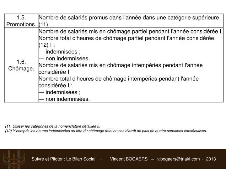 (11) Utiliser les catégories de la nomenclature détaillée II.