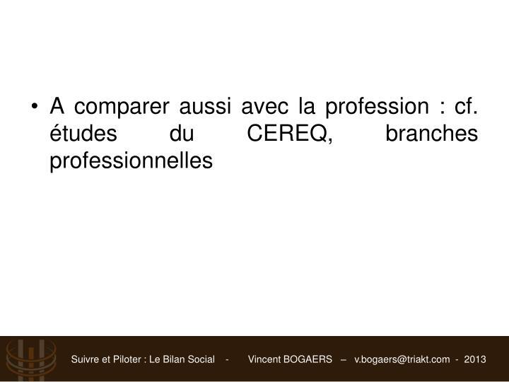 A comparer aussi avec la profession : cf. études du CEREQ, branches professionnelles