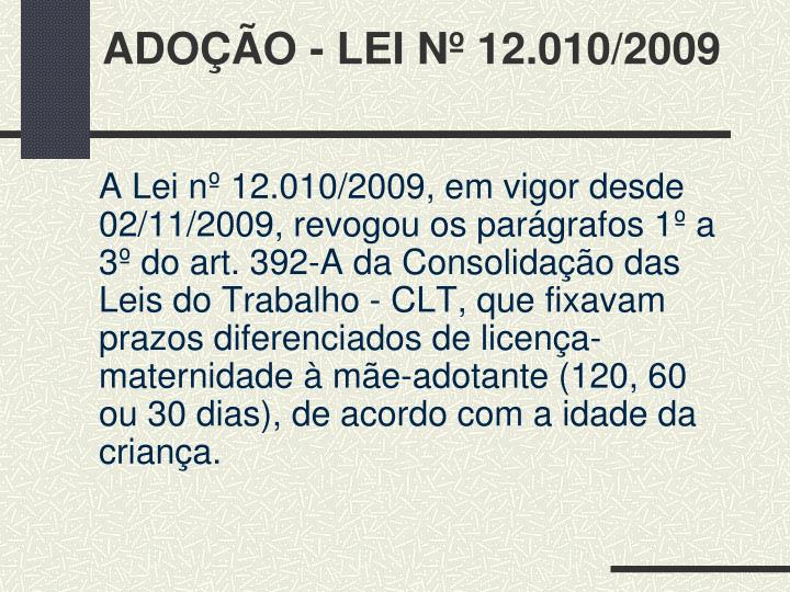 ADOÇÃO - LEI Nº 12.010/2009