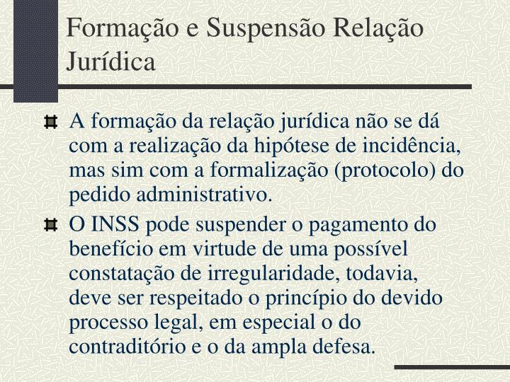 Formação e Suspensão Relação Jurídica