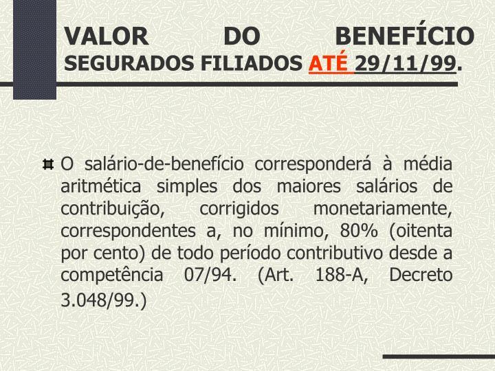 VALOR DO BENEFÍCIO