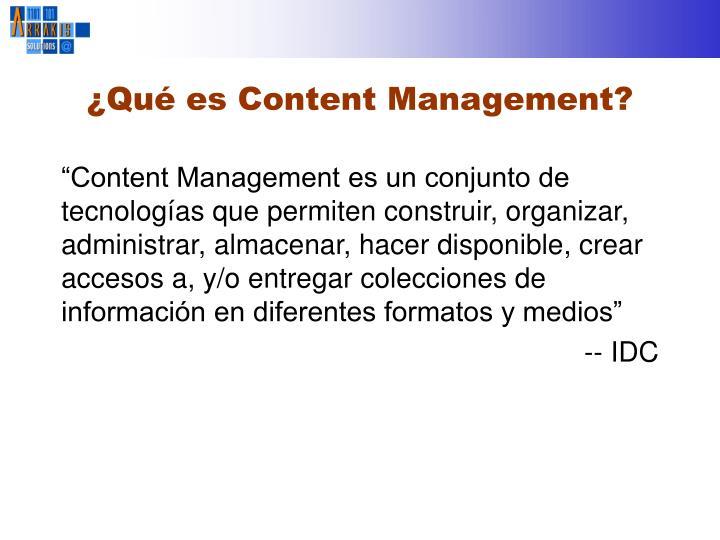 ¿Qué es Content Management?