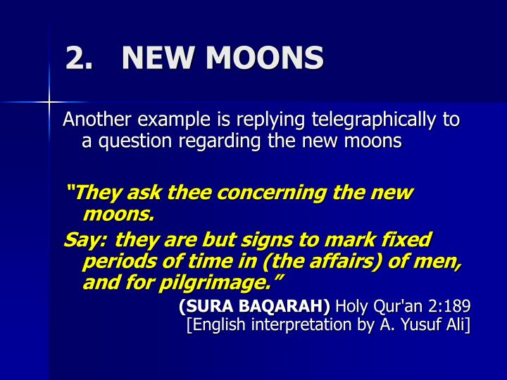 2.   NEW MOONS