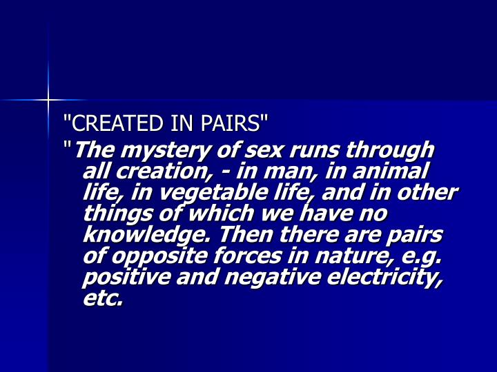 """CREATED IN PAIRS"""