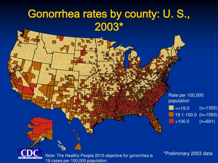 Gonorrhea rates by county: U. S., 2003*