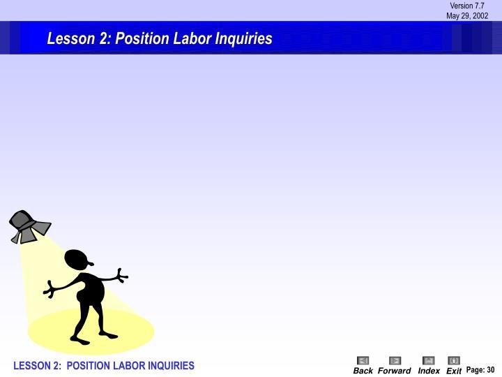 Lesson 2: Position Labor Inquiries