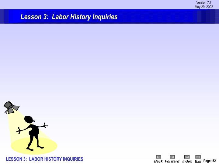 Lesson 3:  Labor History Inquiries