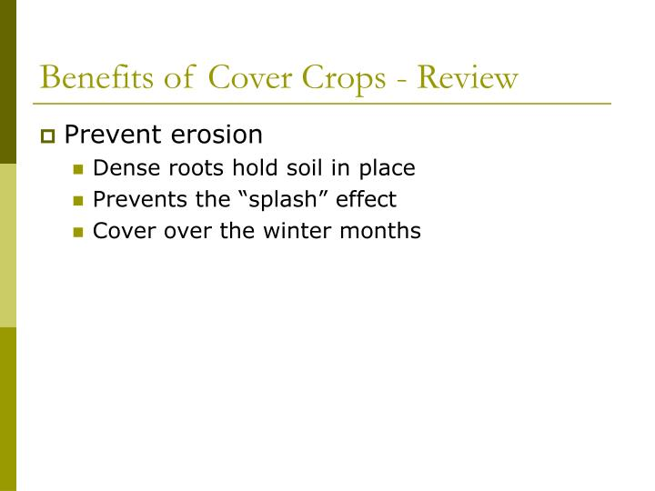 Benefits of Cover Crops - Review