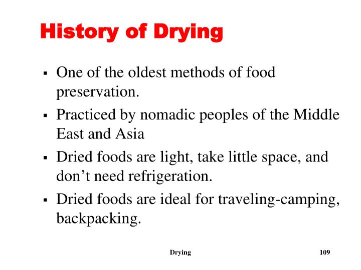 History of Drying