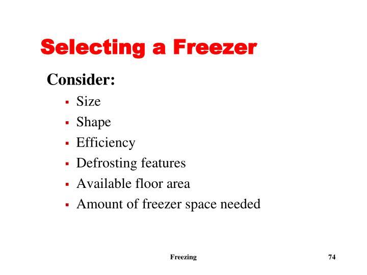 Selecting a Freezer
