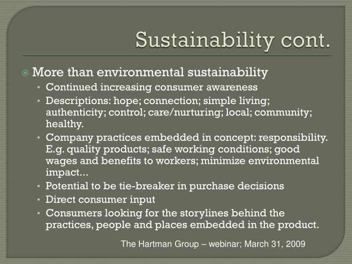 Sustainability cont.