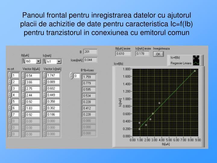 Panoul frontal pentru inregistrarea datelor cu ajutorul placii de achizitie de date pentru caracteristica Ic=f(Ib) pentru tranzistorul in conexiunea cu emitorul comun