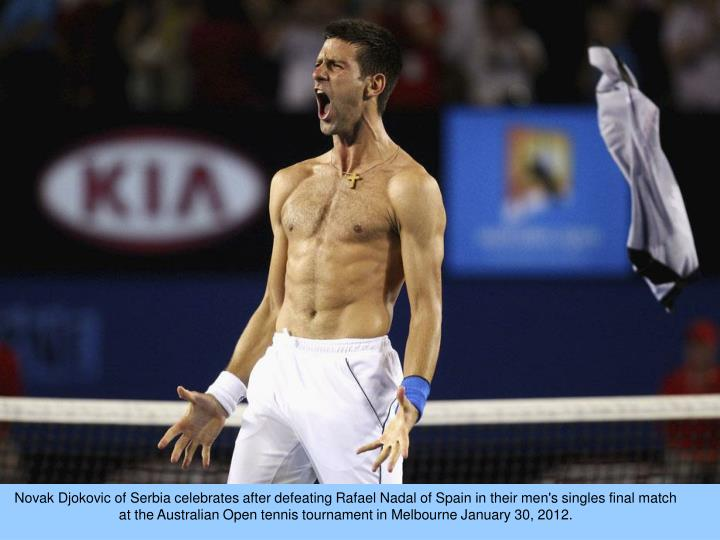 Novak Djokovic of Serbia celebrates after defeating Rafael Nadal of Spain in their men's singles final match at the Australian Open tennis tournament in Melbourne January 30, 2012.